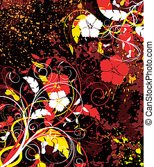 Abstract floral chaos - Grunge paint floral chaos, element...
