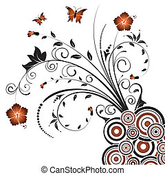 Abstract floral chaos with butterfly, element for design, vector illustration