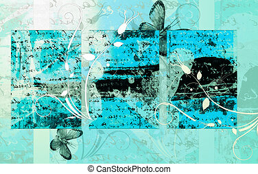 Computer designed high detailed grunge abstract floral textured background - collage with space for your text.