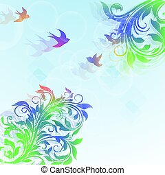 Abstract floral colorful  background with plants and birds.