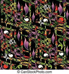 Abstract floral colorful seamless pattern. Black vector backgrou