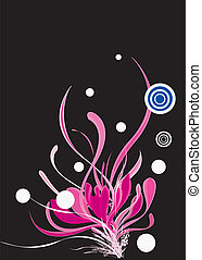 abstract floral design in funky black and pink