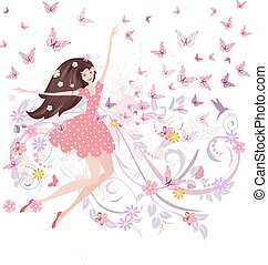 abstract floral design of cute girl with butterflies