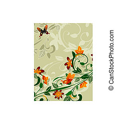 abstract floral design with butterflies