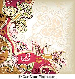 abstract, floral, en, vogel