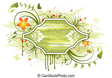 Abstract floral frame with butterfly, element for design, ...