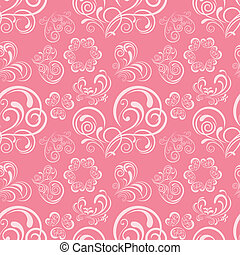 Abstract floral heart pattern. Illustration vector.