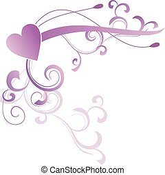 abstract floral heart violet magenta vector