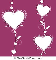 Abstract floral hearts on a dark pink background