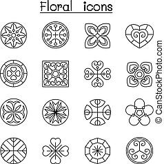 Abstract Floral icon set in thin line style