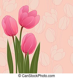 Abstract floral illustration with tulips on blue background