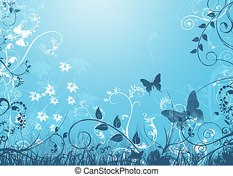 Abstract Floral in Blue