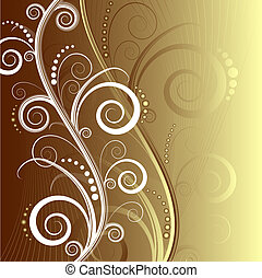abstract, floral, mooi, achtergrond, (vector)