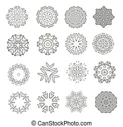 Abstract floral motifs. Lacy snowflakes. Mandala or Arabesque for coloring. Set. collection. Black and white vector illustration