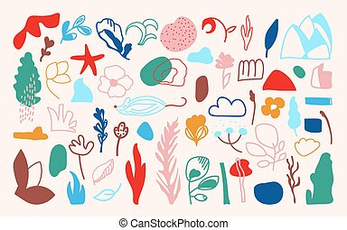 Abstract floral of hand drawn shapes vector set