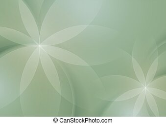 Abstract Floral on Sage Green Background, Vector ...