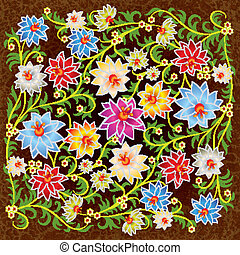 abstract floral ornament with flowers on grunge background
