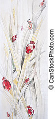 Abstract floral painted background with ladybugs
