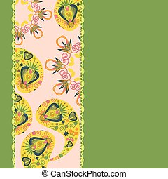 Abstract floral Paisley card, vector image