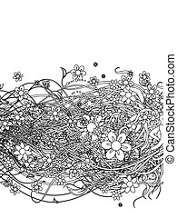 Abstract floral pattern black for your design