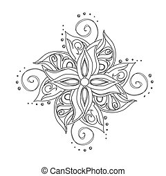 Abstract floral pattern. Stylized flower against white...