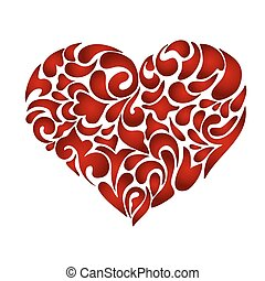 Abstract floral patterned heart