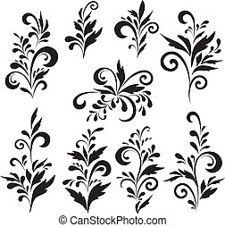 Abstract floral patterns, silhouettes - Set abstract floral...