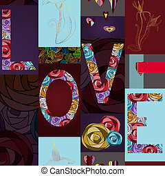 Abstract floral seamless background with word love.