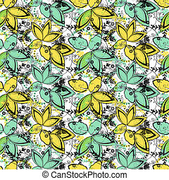 Abstract floral seamless pattern on white background