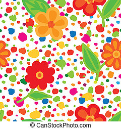 Abstract floral seamless pattern with flowers and dots. Summer holiday wallpaper