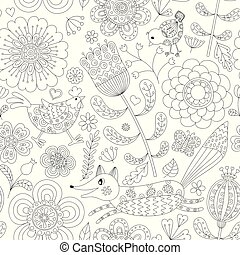 Abstract floral seamless pattern with fox, hen and chicken. Hand drawn doodle. Vector illustration.