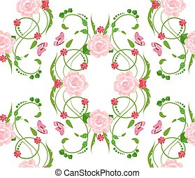 abstract floral seamless texture with roses for your design
