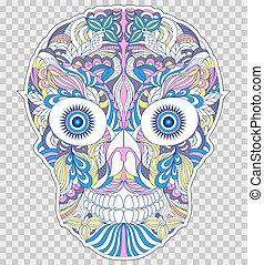 abstract floral skull