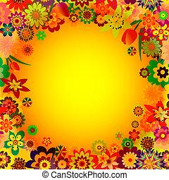 Abstract floral spring orange frame (EPS 10)