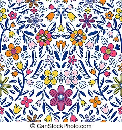 Abstract floral symmetrical vector seamless pattern
