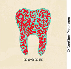 abstract floral teeth.  Retro poster