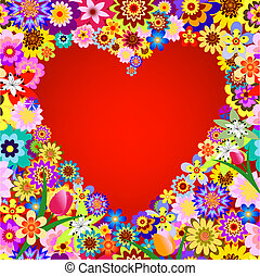 Abstract floral valentine frame