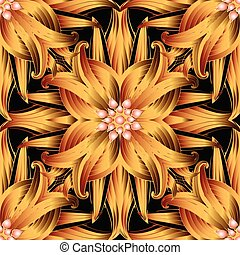 Abstract floral vector 3d seamless pattern.