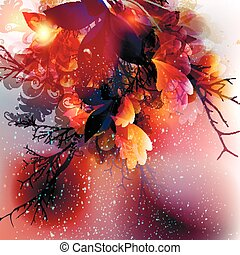 Abstract floral vector shiny background with leafs and branches in pink, purple and orange colors.eps