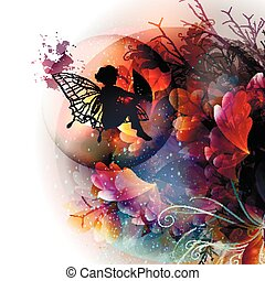 Abstract floral vector shiny background with leafs, fairy silhouette and branches in pink, purple orange colors.eps