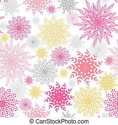 Abstract floral vignettes seamless pattern background