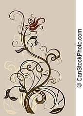 Abstract floral vintage design element.