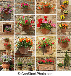 abstract floral wall made of group of images with flowerpots
