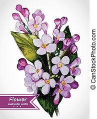 Abstract floral watercolor illustration of the lilac branch