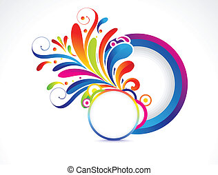 abstract floral with circle vector