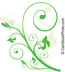 abstract floral with green pattern