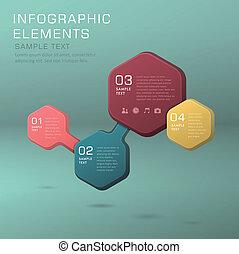abstract flow chart infographics - hexagonal vector abstract...