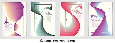 Abstract flow fluid shape vector backgrounds set. A4 print...