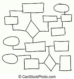 Abstract flowchart vector design elements. Hand-drawn frame,...