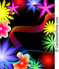 abstract flowers and ribbon on a black background